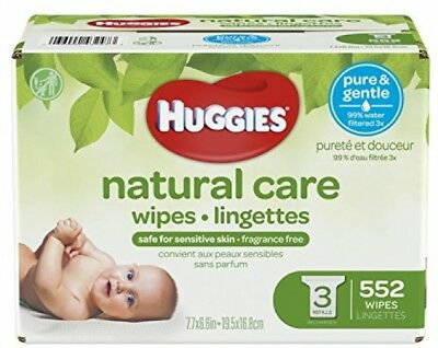 HUGGIES Natural Care Unscented Baby Wipes, Sensitive, Hypoallergenic, 3 Refill
