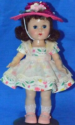 "Vintage 8"" Vogue Ginny Doll in Tagged Tiny Miss Dress with Stand SLW ML"