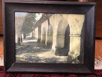 Antique Framed Print of California Mission Arches - Old Wood Frame