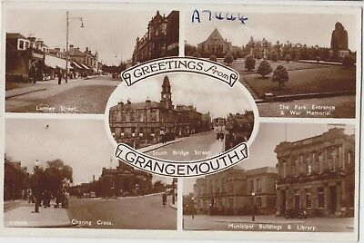 GRANGEMOUTH Greetings from Lumley St Charing Cross War Memorial Vintage PC c1950