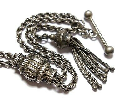Beautiful Antique Victorian Albertina Pocket Watch Chain Af (D29)