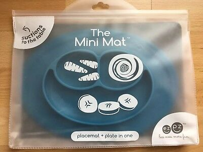ezpz Mini Mat One Piece Silicone Section Placemat + Plate Blue Suction One Size