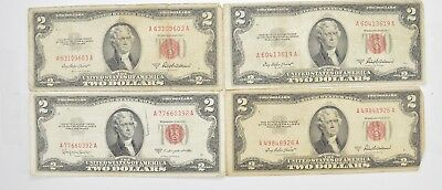 Lot (4) Red Seal $2.00 US 1953 or 1963 Notes - Currency Collection *482