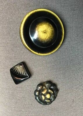 Vintage Lot of 3 Buffed Celluloid Black and Cream Buttons 2.2 - 3.6 cm
