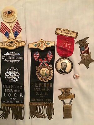 Lot Pins Clinton Lodge PB Plumb Delegate Kansas GAR Grand Army Republic 1866