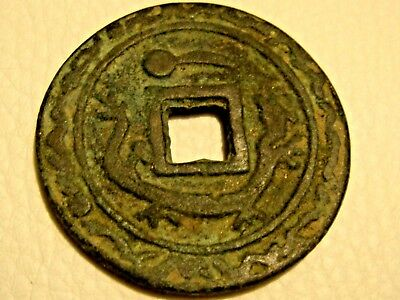 Ancient Chinese dynasty HAND CARVED DRAGON coin China emperor rare Shipwreck #8