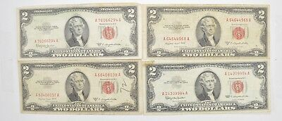 Lot (4) Red Seal $2.00 US 1953 or 1963 Notes - Currency Collection *488
