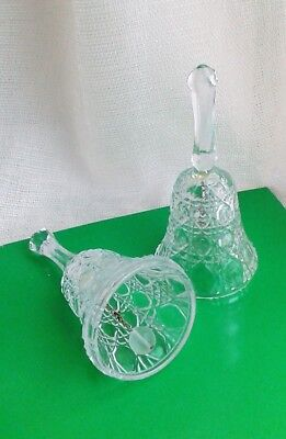 """Vintage Clear Pressed Cut Glass two 5"""" Bells with clear and loud ring sound"""