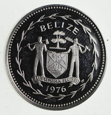Roughly Size of Half Dollar - 1976 Belize 50 Cents World Silver Coin 10.5g *066