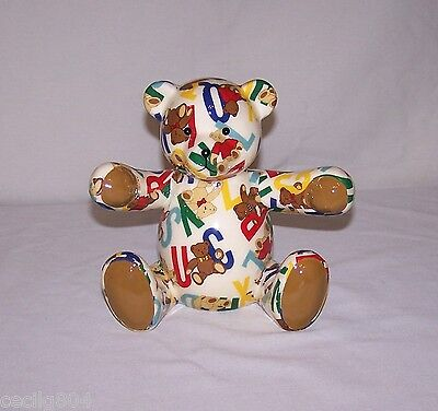 Porcelain Alphabet Patchwork Teddy Bear Bank