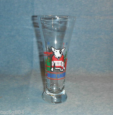 Spuds Mackenzie Bud Light Holiday Pilsner Beer Glass C. 1987 Very Nice L@@k