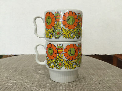 Pair of Matching Vintage Stacking Mugs, Japan - Flowers Orange Yellow Green