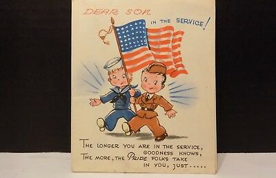Unused World War 2 DEAR SON IN THE SERVICE Fold-Out Greeting Card Pride & Luck