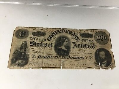 1864 $100 Confederate States Note Lucy Pickens Feb 17 1864