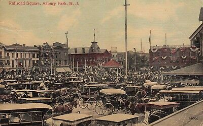 ASBURY PARK, NJ ~ HORSE AND BUGGY PARKING LOT IN RAILROAD SQUARE ~ c1910