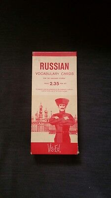 Vtg Russian Vocabulary Flash Cards Vis-Ed 1,000 Cards 1.5in L x 3.5in W