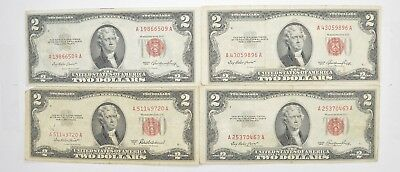 Lot (4) Red Seal $2.00 US 1953 or 1963 Notes - Currency Collection *486