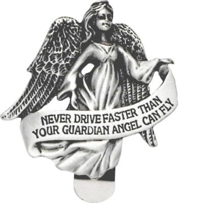 Never Drive Faster than Guardian Angel Can Fly Metal Auto Visor Clip NEW