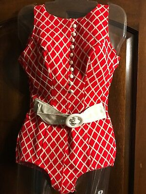 Vintage 60s Red and White One-Piece Swim Suit Faux Buttons Vinyl Belt Front EUC