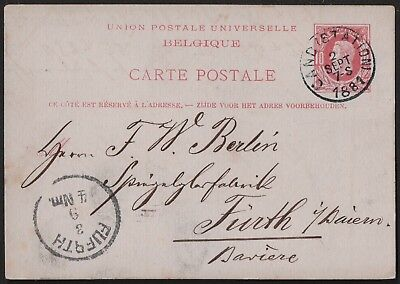 Belgium 1881 Upu Post Card From Gand Station  To Fürth Bavaria  Germany