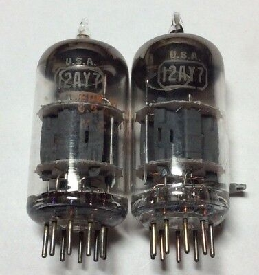 (2) RCA made in USA 12AY7 twin triode audio tubes