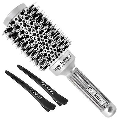 Nano Thermal Ceramic & Ionic Round Barrel Hair Brush with Boar Bristle Styling