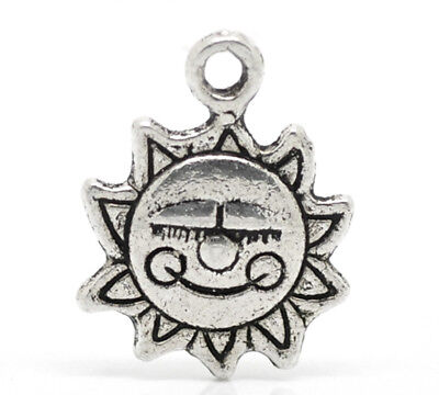10 x Sun Happy Face Charms 'Made with a smile' Antique Silver tone  (16 x 12mm)