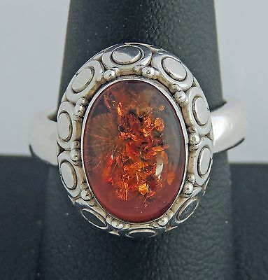 Stunning Large Sturdy Estate Sterling Silver Amber Bead Detail Ring Sz 9