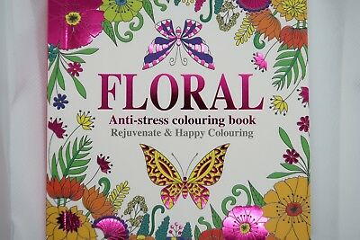 NEW Stress Relief & Relaxation Colouring Book FLORAL Adult 60 designs