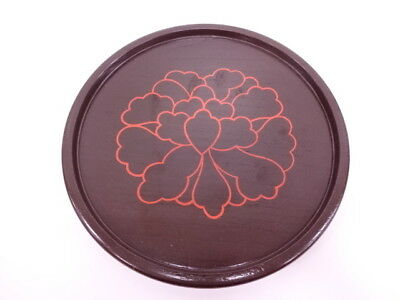 39136# Japanese Tea Ceremony / Round Tray / Lacquered / Artisan Work