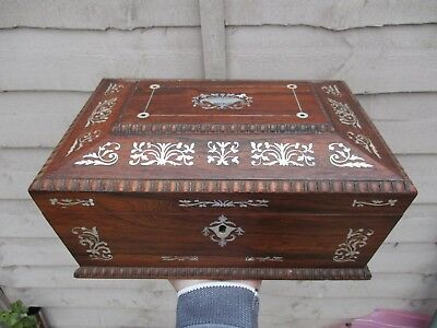 An Early 19th Century Inlaid Rosewood Sewing Box c1820/40