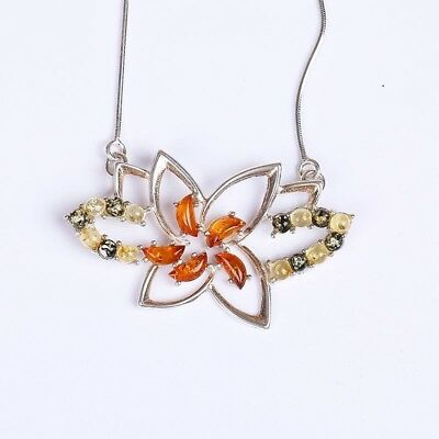 Exquisite Silver Inlaid Natural Baltic Amber Beeswax Honeysail Necklaces Jewelry