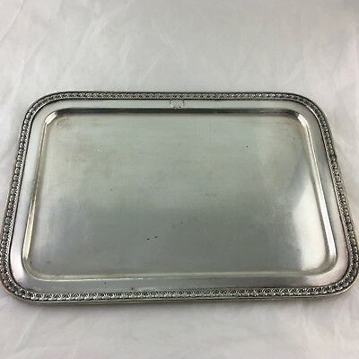 "Antique Silver Plated Rectangle Serving/butler Tray Signed 14"" X 10"""