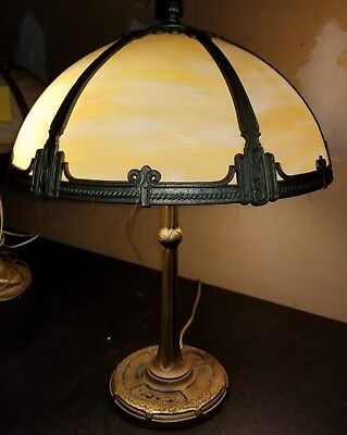 Antique1900-1940s Bent Glass Slag Table Lamp signed by Bradley Hubbard