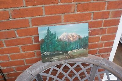Vintage Hand Painted Picture Signed by the Artist Drewett Mountain Scene 1973