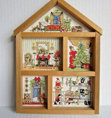 Completed Bucilla Christmas Eve House Counted Cross Stitch Hutch 1994 Victorian
