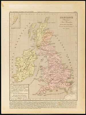 1859. Brittany Roman. Map geographical antique Houze. England