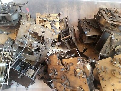 Job Lot Of 22 Antique Brass Clock Movements Haller Perivale Smiths Fhs Chiming