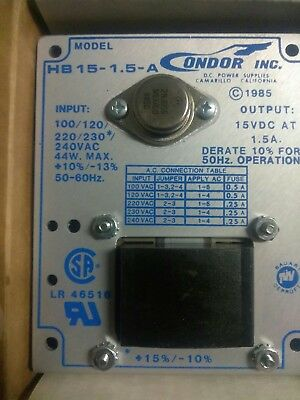 Condor Model HB15-1.5-A DC Power-One Supply Spike Transformer Output 15VDC 1.5A