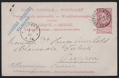 Belgium 1902 Upu Post Card From Bruxelles To Puppen (Spychowo)  Germany