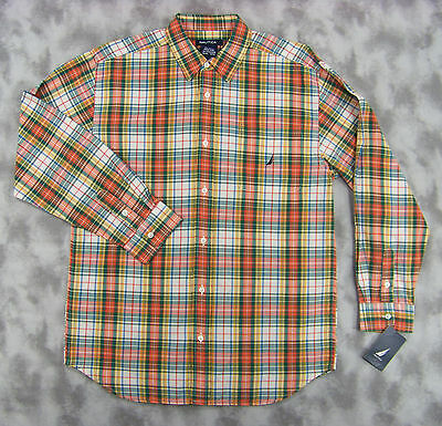 NWT Nautica Boys Long Sleeve Button Front Orange Green Plaid Shirt sz 20 XL New