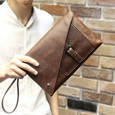 New Vintage Leather Envelope Bags Large Capacity Zipper Mens Clutches Wristlet
