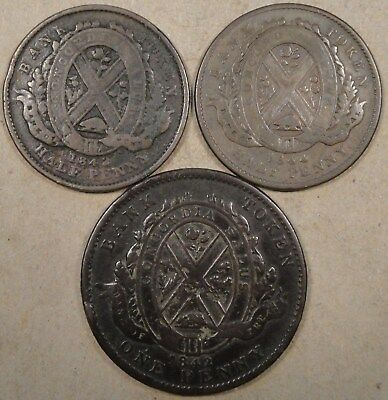 Lower Canada 1842 +1844 Half Penny + 1842 Penny Tokens as Pictured