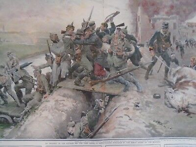 WW1 STRUGGLE FOR YSER CANAL Hand coloured military print jack mummery