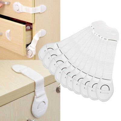 10PCS Baby Kid Child Safety Locks Proof Cabinet Drawer Fridge Pets Cupboard Door