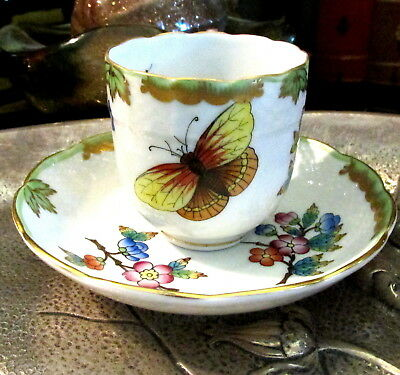 Lovely Herend Porcelain Mocha Cup And Saucer #604 Queen Victoria Pattern