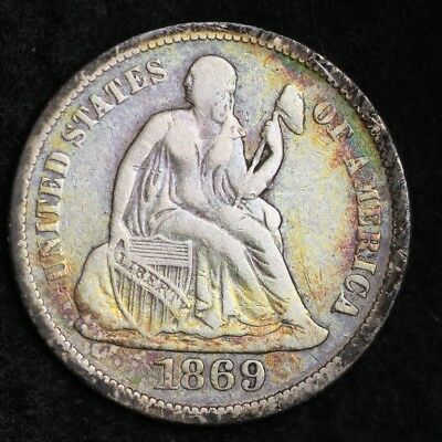 1869-S TONED Seated Liberty Dime CHOICE VF FREE SHIPPING E330 ANM