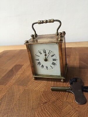 Antique /vintage Brass Carriage Clock And Key