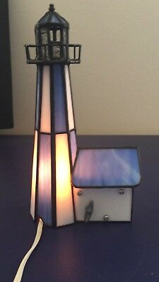 "Vintage Stained glass leaded musical lighthouse ""You light up my life"" 8"" high"