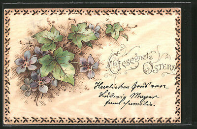 Holzbrand-Imitations-Lithographie Gesegnete Ostern, Veilchen